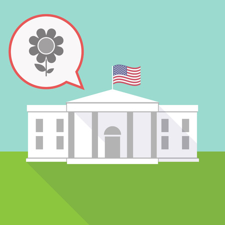 Illustration of the White House with a balloon and a flower