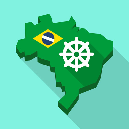 Illustration of a Long shadow map of Brazil, its flag and a dharma chakra sign