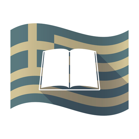 read magazine: Illustration of a long shadow Greece waving flag with a book