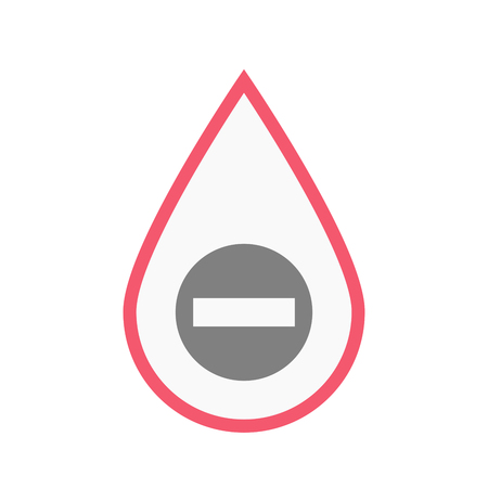 Illustration of an isolated line art blood drop with  a no trespassing signal