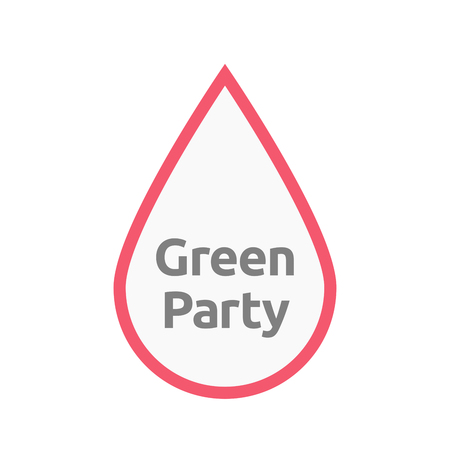 Illustration of an isolated line art blood drop with  the text Green Party Illustration
