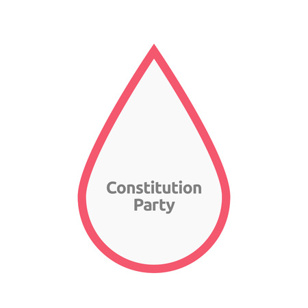 Illustration of an isolated line art blood drop with  the text Constitution Party