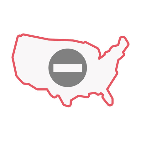 Illustration of an isolated United States of America line art map with  a no trespassing signal