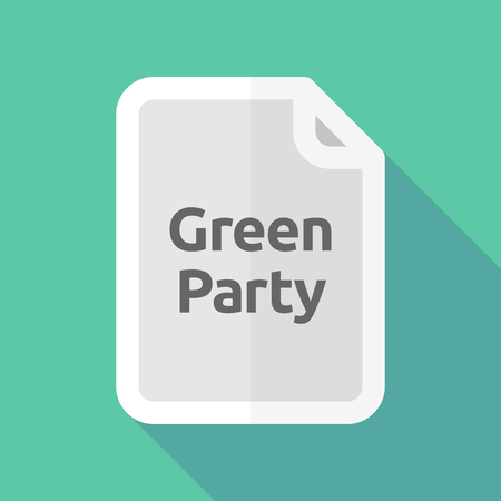 Illustration of a long shadow document with   the text Green Party Illustration