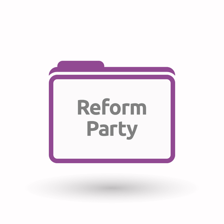 presidential: Illustration of an isolated line art document folder with  the text Reform Party