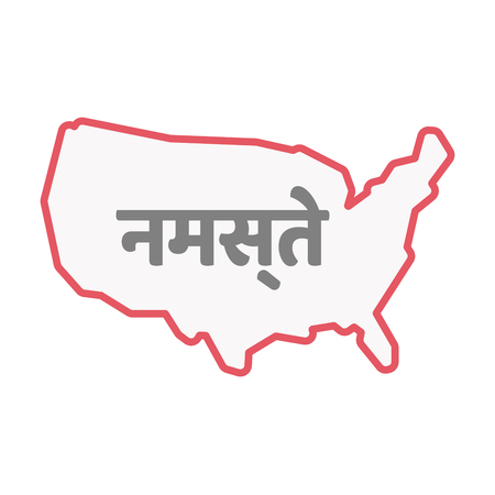 Illustration of an isolated United States of America line art map with  the text Hello in the hindi language