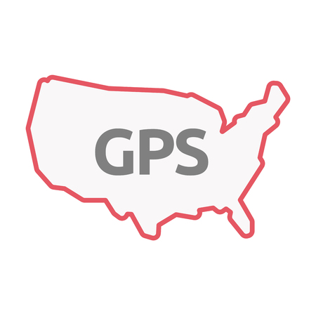 Illustration of an isolated United States of America line art map with  the Global Positioning System acronym GPS