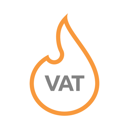 Illustration of an isolated line art fire flame with  the value added tax acronym VAT