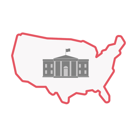 Illustration of an isolated United States of America line art map with  the White House building