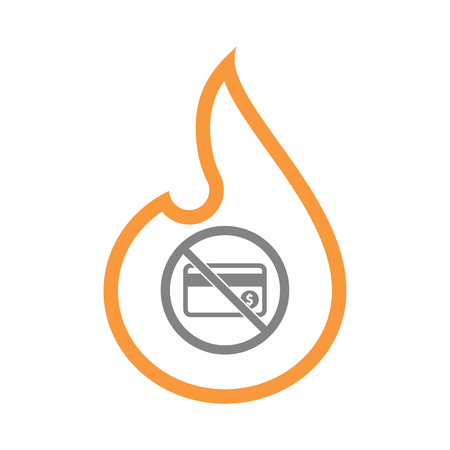 Illustration of an isolated line art fire flame with  a credit card  in a not allowed signal Illustration