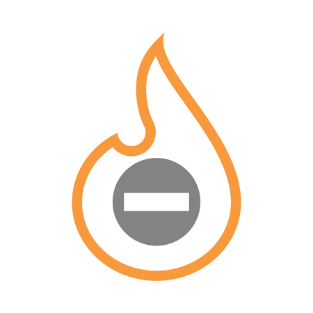 Illustration of an isolated line art fire flame with  a no trespassing signal