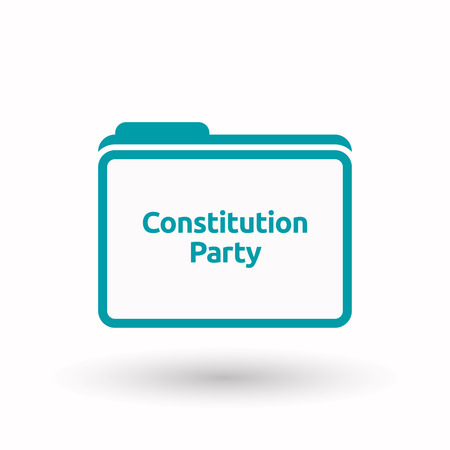 Illustration of an isolated line art document folder with  the text Constitution Party