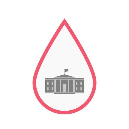 Illustration of an isolated line art blood drop with  the White House building