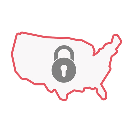 Illustration of an isolated United States of America line art map with  a closed lock pad