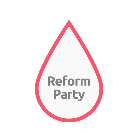 Illustration of an isolated line art blood drop with  the text Reform Party