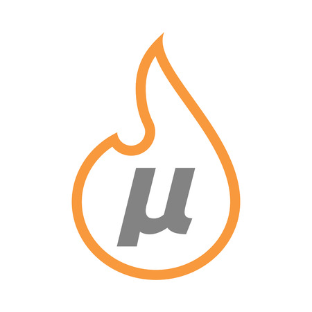 Illustration of an isolated line art fire flame with  a micro sign, mu greek letter