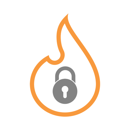Illustration of an isolated line art fire flame with  a closed lock pad Illustration