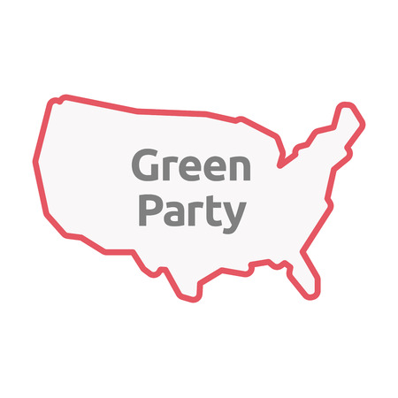 Illustration of an isolated United States of America line art map with  the text Green Party