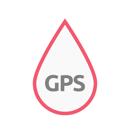 Illustration of an isolated line art blood drop with  the Global Positioning System acronym GPS