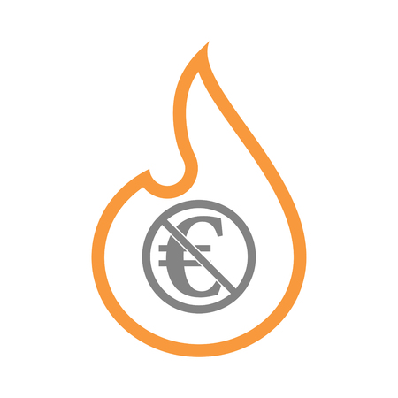 Illustration of an isolated line art fire flame with  an euro sign  in a not allowed signal