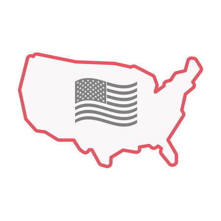 Illustration of an isolated United States of America line art map with  the Unites States of America waving flag