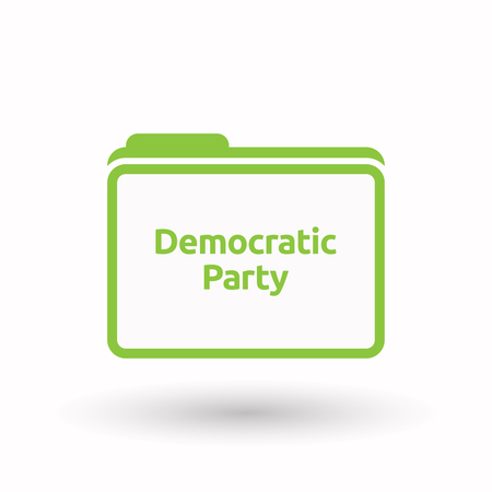Illustration of an isolated line art document folder with  the text Democratic  Party