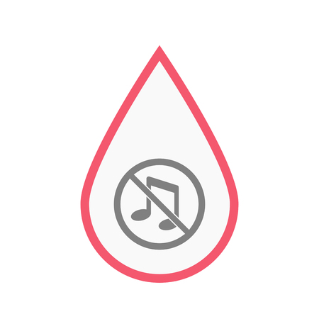 Illustration of an isolated line art blood drop with  a musical note  in a not allowed signal Illustration
