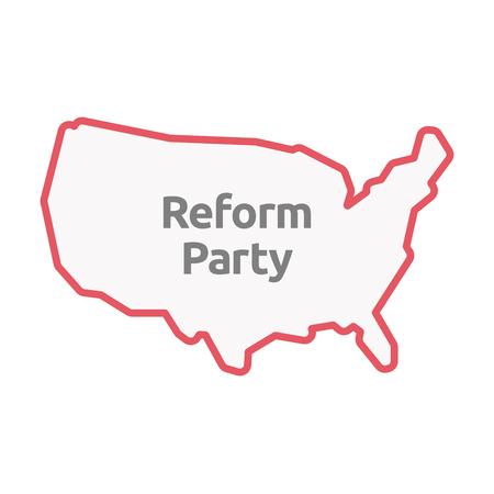 Illustrazione di un isolato Stati Uniti d'America linea arte mappa con il testo Reform Party