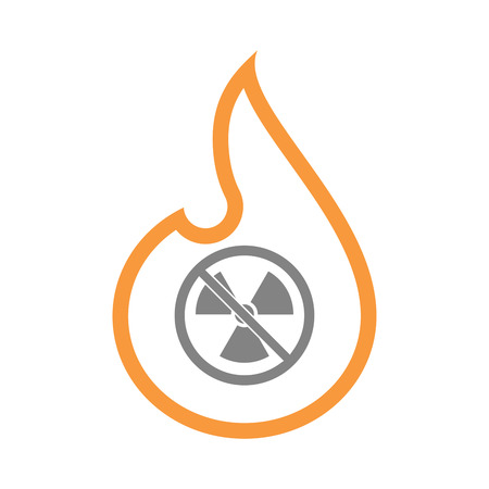 Illustration of an isolated line art fire flame with  a radioactivity sign  in a not allowed signal Illustration