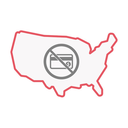 Illustration of an isolated United States of America line art map with  a credit card  in a not allowed signal