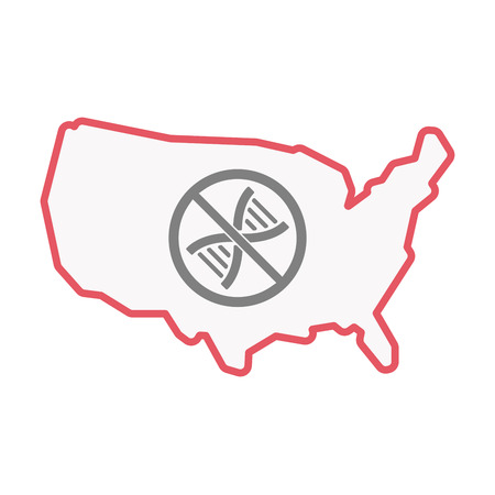Illustration of an isolated United States of America line art map with  a DNA sign in a not allowed signal