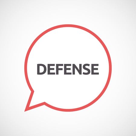 Illustration of an isolated line art comic balloon with  the text DEFENSE Illustration