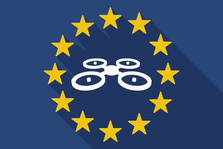 Illustration of a long shadow European Union flag with  a quadcopter drone