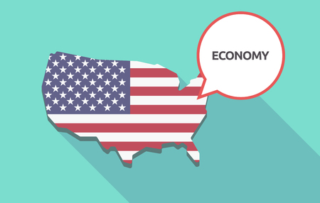 Long shadow map of United States of America and its flag with  the text ECONOMY Illustration