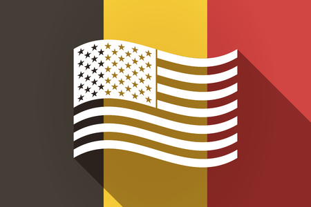 Illustration of a long shadow Germany flag with  the Unites States of America waving flag