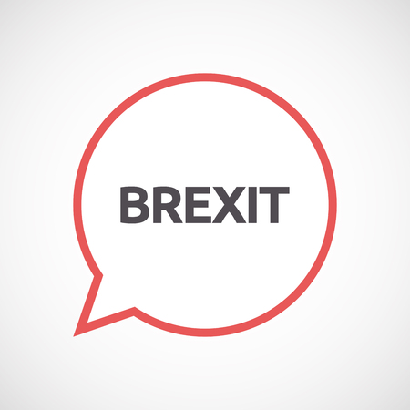 Illustration of an isolated line art comic balloon with  the text BREXIT Illustration