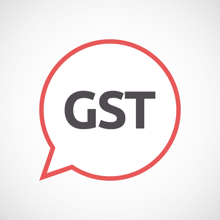 taxpayer: Illustration of an isolated line art comic balloon with  the Goods and Service Tax acronym GST