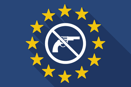 Illustration of a long shadow European Union flag with a gun in a not allowed signal