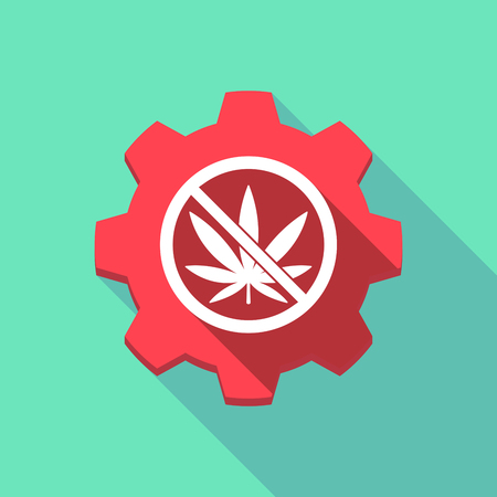 Illustration of a long shadow machine gear with  a marijuana leaf  in a not allowed signal Illustration