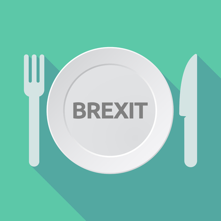 Illustration of a long shadow dish, knife and fork with  the text BREXIT