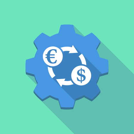 Illustration of a long shadow machine gear with  an euro dollar exchange sign Illustration