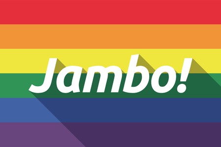 swahili: Illustration of a long shadow gay pride flag with  the text Hello! in the swahili language Illustration