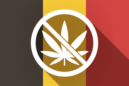 weeds: Illustration of a long shadow Germany flag with  a marijuana leaf  in a not allowed signal Illustration