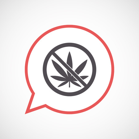 weeds: Illustration of an isolated line art comic balloon with  a marijuana leaf  in a not allowed signal Illustration