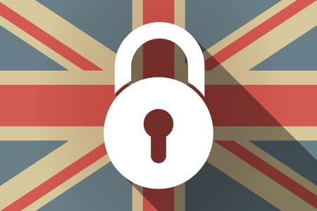 Illustration of a long shadow United Kingdom flag with  a closed lock pad Illustration