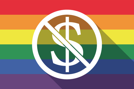 sexual orientation: Illustration of a long shadow gay pride flag with  a dollar sign  in a not allowed signal