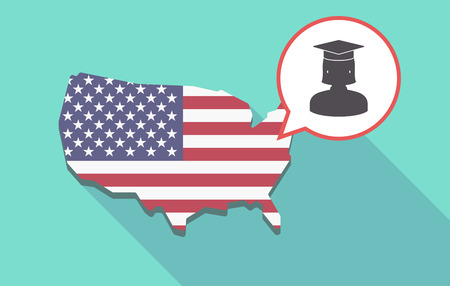 Long shadow map of United States of America and its flag with  a female graduated student