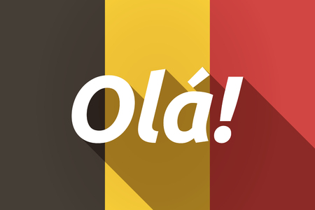 Illustration of a long shadow Germany flag with  the text Hello! in the Portuguese language