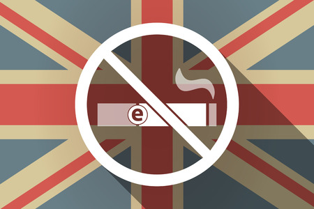 Illustration of a long shadow United Kingdom flag with  an e-cigarette  in a not allowed signal Illustration