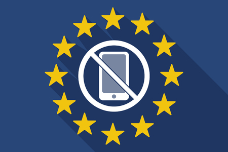 Illustration of a long shadow European Union flag with  a phone  in a not allowed signal